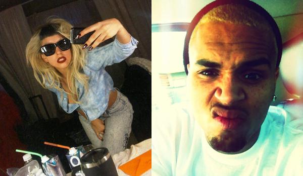 lady gaga dark hair. Lady Gaga and Chris Brown both